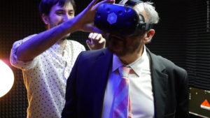 John Rhys-Davies in Virtual Reality with Innerspace VR wearing the HTC VIVE headset. (PRNewsFoto/Innerspace VR)
