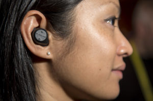 A Elite Sport Bluetooth earphone manufactured by Jabra GN is displayed during the ShowStoppers event at the 2017 Consumer Electronics Show (CES) in Las Vegas, Nevada, U.S., on Thursday, Jan. 5, 2017. CES, celebrating its 50th year, will showcase self-driving cars, TVs, drones, robots and a slew of other gadgets. Photographer: David Paul Morris/Bloomberg via Getty Images