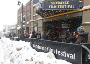 Mandatory Credit: Photo by George Frey/EPA/REX/Shutterstock (8115388g) Snow piles up as people walk past the Egyptian Theater at the 2017 Sundance Film Festival in Park City, Utah, USA, 26 January 2017. The festival runs from 19 to 29 January. 2017 Sundance Film Festival, Park City, Usa - 26 Jan 2017