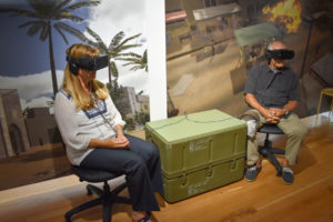 """Fairgoers can try """"Bravemind,"""" the therapeutic virtual reality tool to get an idea what an Iraq veteran's combat experience was like. (Photo/Courtesy of Terry Moore)"""